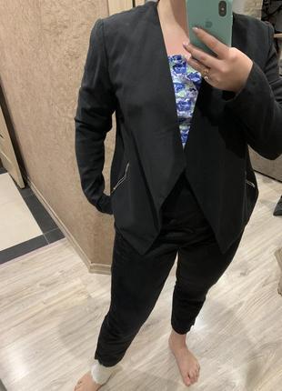 Пиджак жакет   женский чёрный с отложным  воротником легкий без застежки h&m5 фото
