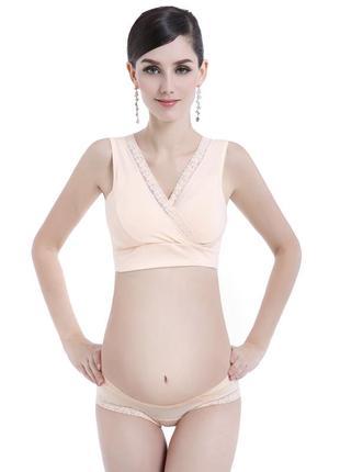 Натуральный бюстгальтер-топ на запах для беременных и кормящих женщин бежевый