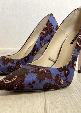 Туфли голубые цветные, лодочки zara