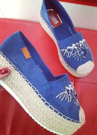 Эспадрильи слипоны мокасины туфли на платформе