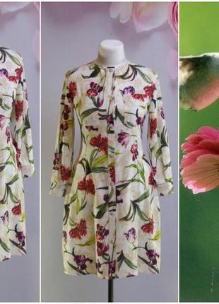 Платье, платье-рубашка белое цветочное