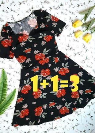 🎁1+1=3 стильное приталенное черное платье в цветах миди dorothy perkins, размер 46 - 48