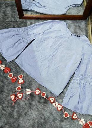 Блуза кофточка из коттона с расклешенными рукавами marks & spencer