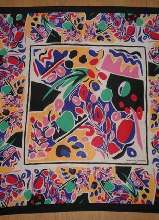 Винтажный шарф плотный шелк крепде шин jean-louis scherrer paris 83x83см шов роуль италия