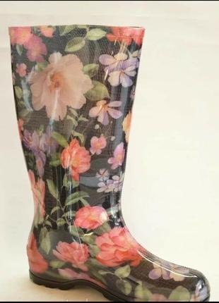 Резиновые сапоги цветы