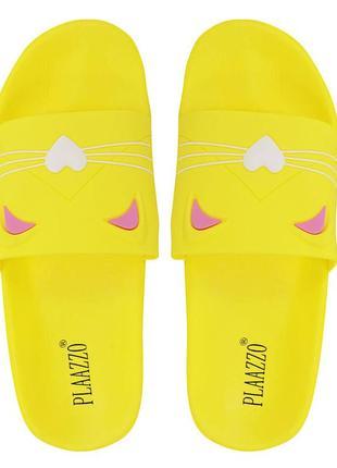 """Шлепанцы для девочки """"cats"""" желтые"""