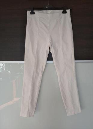 Фирменные белые коттоновые штаны, джеггинсы h&m