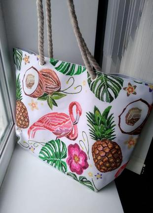 Пляжная сумка фламинго ананас