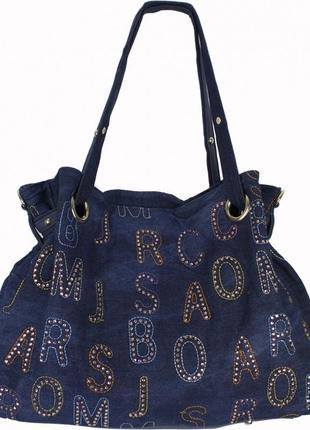 Джинсовая сумка вместительная с вышивкой и стразами