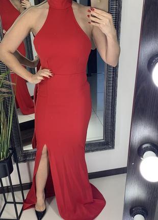 Вечернее красное платья в пол с разрезом / длинное красное платье