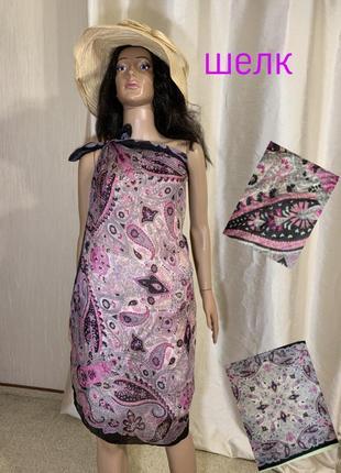 Невесомое шелковое парео шелк 100% натуральный большой шелковый платок