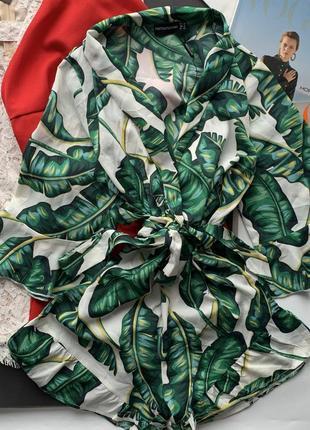Зелёный комбинезон в листья / ромпер / комбез в листья