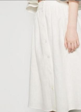 Льняная  молочная миди юбка zara