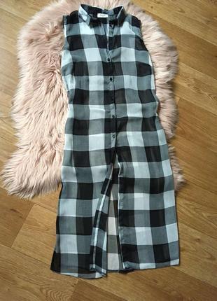 Крутая блуза накидка макси с разрезами