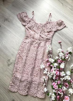 Красивое нарядное кружевное платье, вечернее кружевное платье