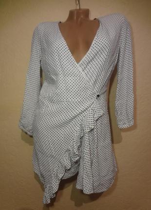 Красивый нежный комбинезон-платье/ромпер-платье на запах  в горошек от zara размер s