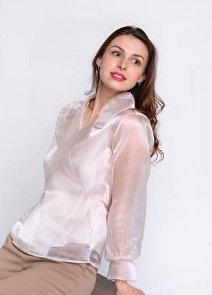 Блуза блузка органза + маечка m, l, xl