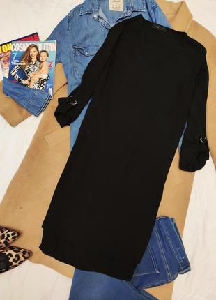 Atmosphere чёрное платье рубашка миди оверсайз лёгкое укорочен рукав