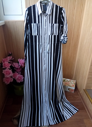 Длинное повседневное платье в полоску платье рубашка р.м,л,хл