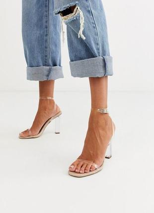 Босоножки на прозрачном каблуке asos, размер 37
