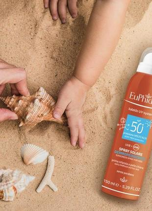 Euphidra spray solare spf 50+ детский солнцезащитный спрей 150 ml1 фото
