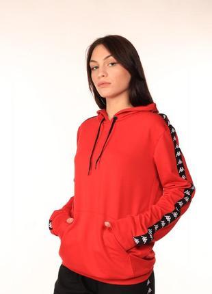 Женское худи красное с лампасом kappa