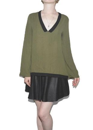 Блуза хаки асимметричная atmosphere6 фото