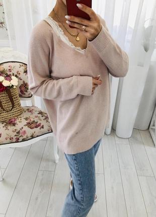 Мериносовый теплый свитер в цвете пудра gap