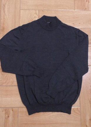 Шикарный мужской серый джемпер свитер свитшот лонгслив гольф sevensigns шерсть мериноса