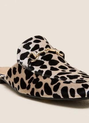 Леопардовые вельветовые мюли, лоферы, сабо olivia miller