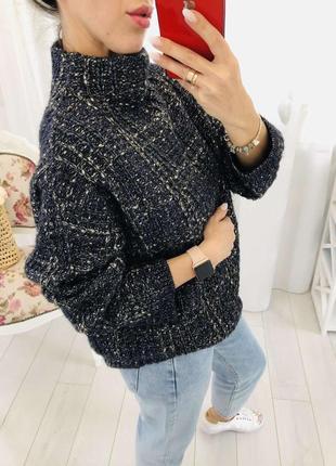 Объемный меланжевый свитер крупной вязки премиум бренда massimo dutti