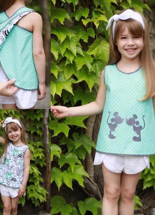 Детская майка на лето, топ двусторонний с микки маусом + шорты для девочки, комплект 2в1