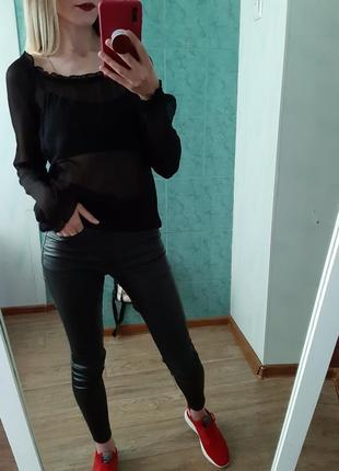 Шикарная прозрачная блуза, топ  на плечи