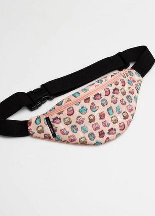 Детская поясная сумка для девочки, персиковая бананка на пояс с совами
