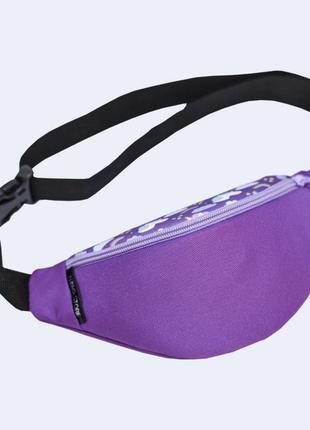 Детская поясная сумка бананка - фиолетовая с единорогами