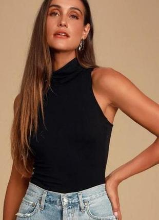 1+1=3 модный черный плотный топ блуза блузка без рукавов h&m, размер 44 - 46