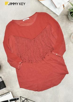 Комбинированная блуза с бахромой на груди jimmy key