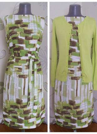 Платье-футляр льняное летнее миди с поясом