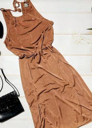 Шикарное платье карамельного цвета из фактурной ткани asos