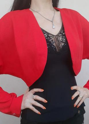 Болеро пиджак красный нарядный кофта туника курточка свитшот