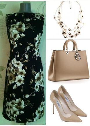 Платье-футляр маки разноцветное летнее темное в цветочный принт миди