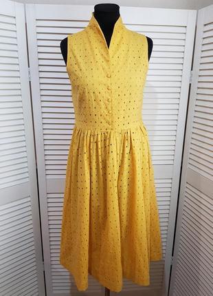 Желтое платье миди h&m