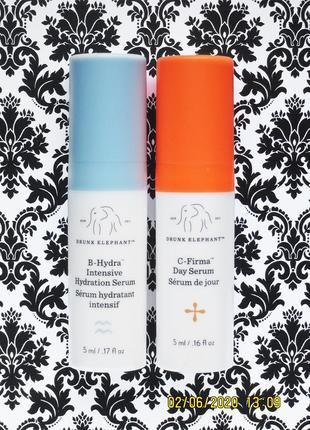 Набор drunk elephant сыворотка b-hydra для увлажнения и c-firma serum корректирующая