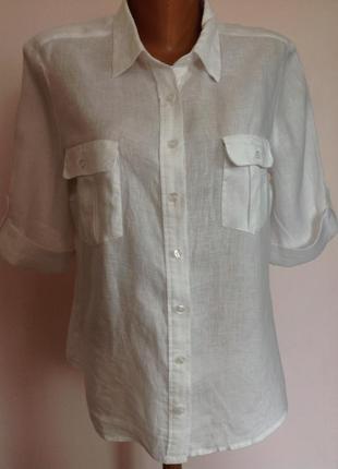 Льняная белая  рубашка /44/brend h& m