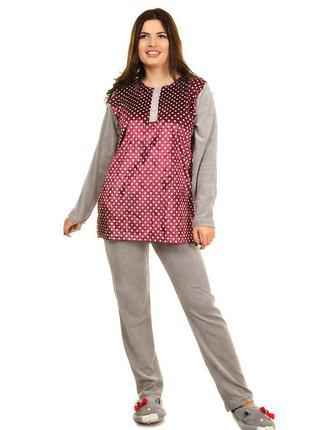Женская велюровая пижама в горошек (403)