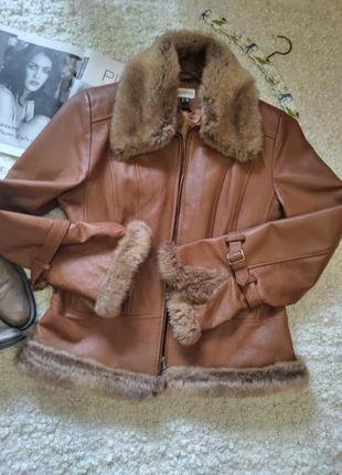 Шыкарная кожаная коричневая куртка
