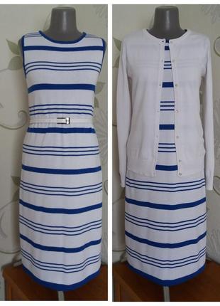 Платье вязаное трикотажное в полоску полосатое миди хлопок летнее свободного кроя