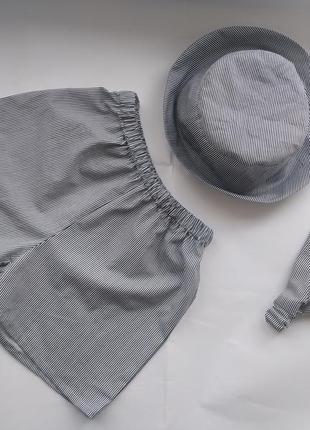 Набор шорты хлопок+ панамка шляпа бандана