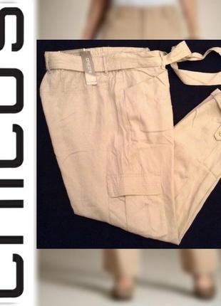 Эксклюзив! трендовые укороченные штаны брюки chico's ultimate fit с завязками на талии