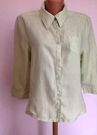 Салатовая льняная рубашка /l/ brend cecil